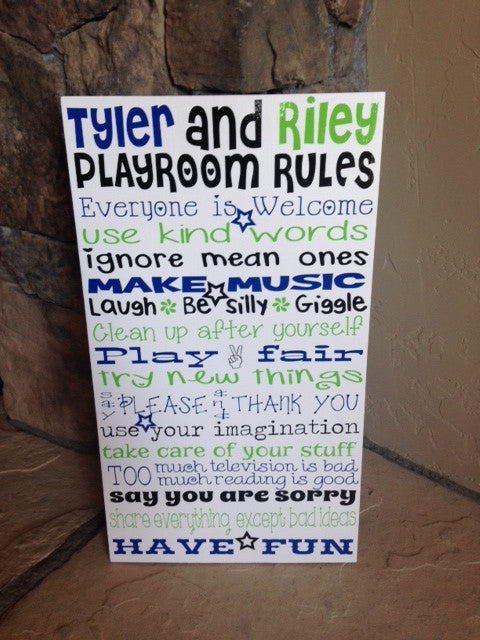 Personalized Wooden Playroom Rules Sign 12x20""