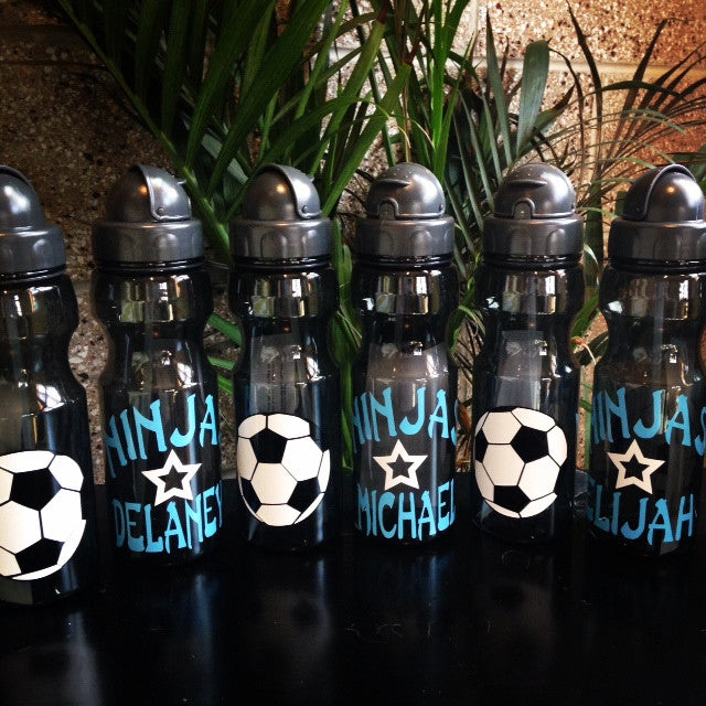Personalized Kid Soccer ball water bottles party
