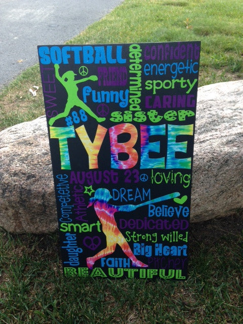 Personalized Wooden Softball Sign Teen 12x20""