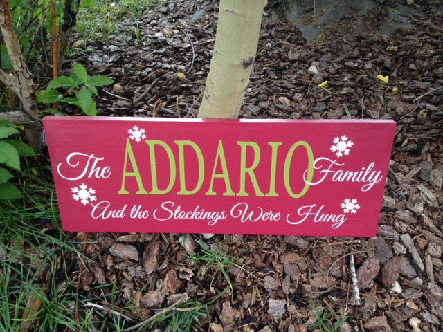 Personalized Family Stockings Were Hung Holiday Sign