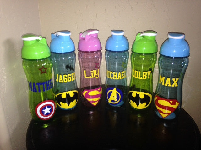 Personalized Kid's Water Bottle Superhero Theme