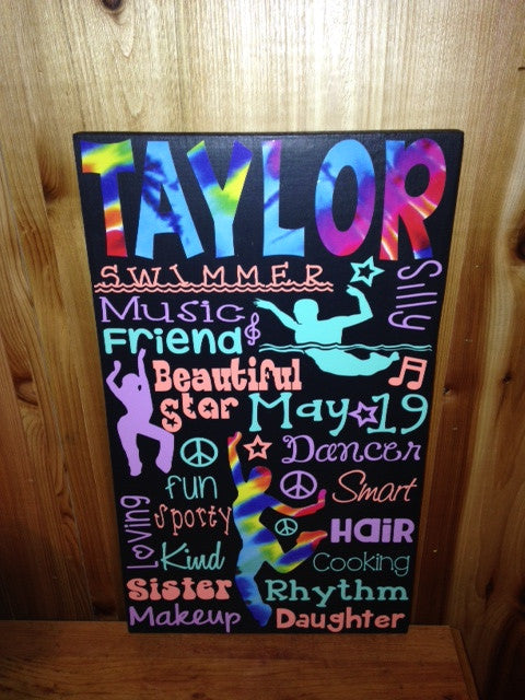 Personalized Wooden Swim Team Sign Teen 12x20""