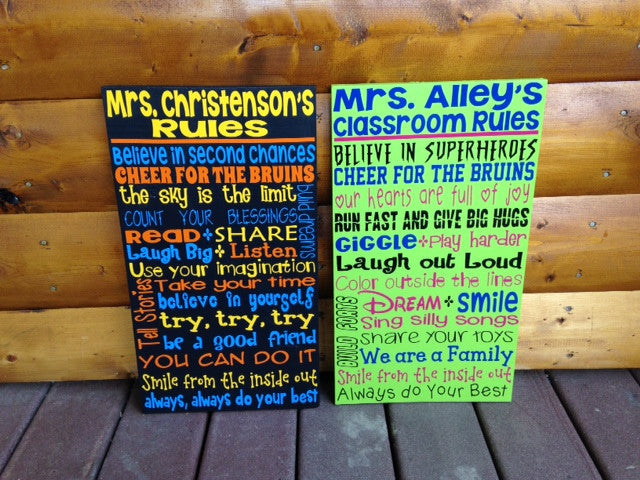 Personalized Teacher Classroom Sign 12x20""