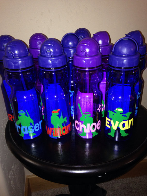 Personalized Kid's Water Bottles TMNT Party