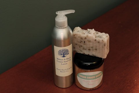 Lg. Walnut & Black Cumin Seed Oil Lotion, Sugar Shack Scrub & Lavender Bud Moisturizing Bar Collection