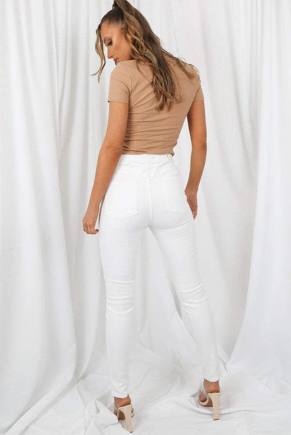 Taupe Square Neck Ribbed Crop-Top