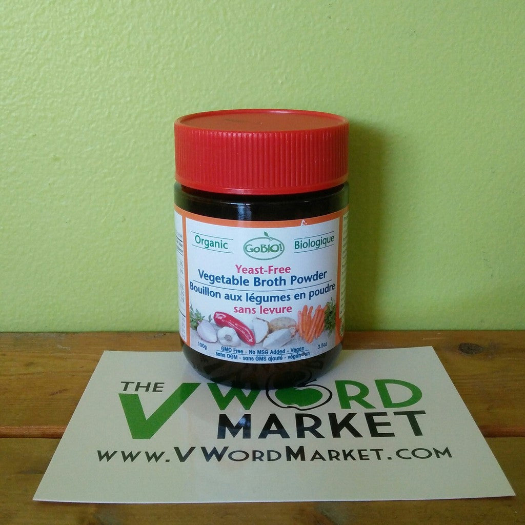Go-Bio - Organic Yeast Free Vegetable Broth Powder (glass jar) - V Word Market - Vegan Grocery - Delivered.