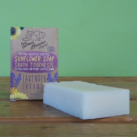 Green Beaver - Extra Gentle Castile Sunflower Soap Bar - Lavender - V Word Market - Vegan Grocery - Delivered.