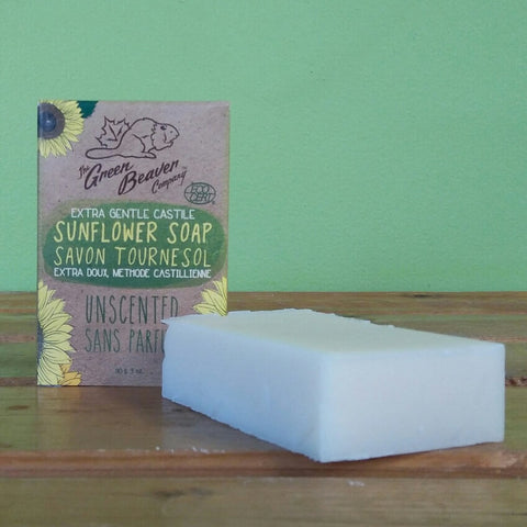 Green Beaver - Extra Gentle Castile Sunflower Soap Bar - Unscented - V Word Market - Vegan Grocery - Delivered.