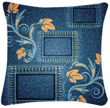 Load image into Gallery viewer, Ethnic Denim Digital Printed Canvas Cushion Cover Set of 5