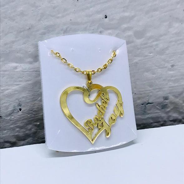 Personalized Heart Shaped Double Name Pendant