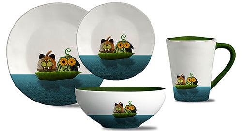 Owl & Cat dinner set