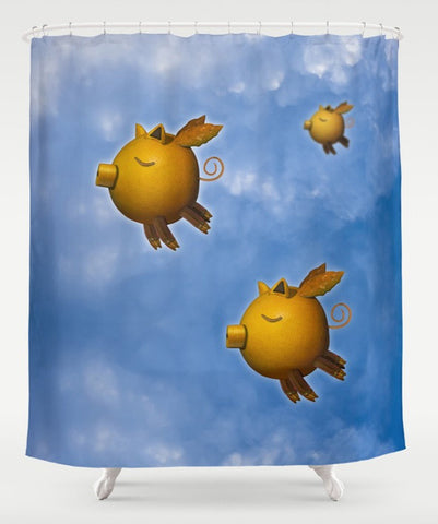 Pigs Can Fly shower curtain