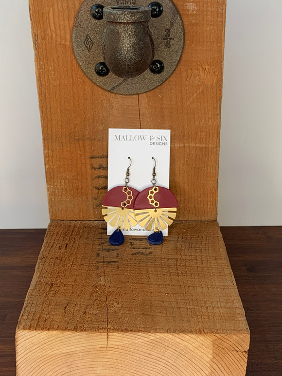 Wine & Brass Party Earrings