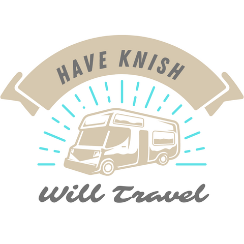 """Illustration of a camper van with the words """"Have knish will travel"""""""