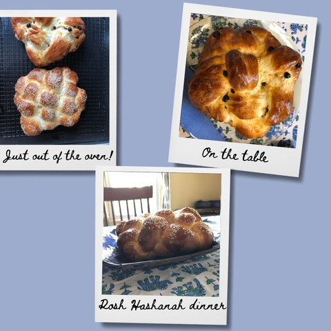 """Challah in Polaroid frames with notes: """"Just out of the oven"""" """"On the table"""" """"Rosh Hashanah dinner"""""""