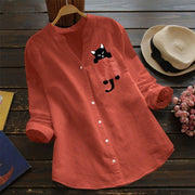 Adorable Cat Print Ladies Blouse
