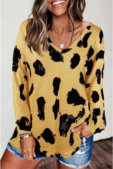 Leopard  Casual Soft Tops