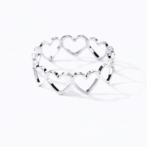 Stainless Steel Hollow Heart Rings - Borderline  Beauty