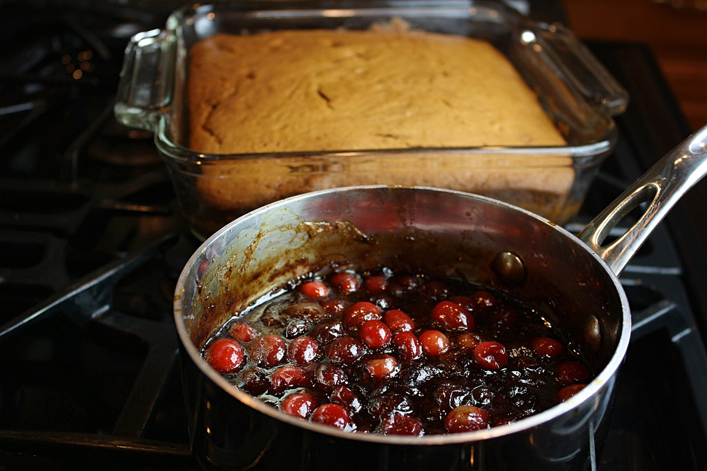 Spice Cake with Cranberry Compote