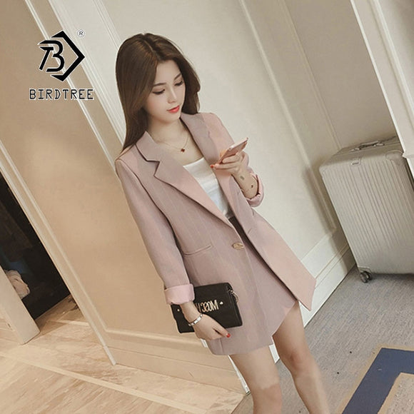 2019 Chic Autumn New Women's Suits Blazer Tops And Skirt Fashion Two Pieces Set Office Lady Formal Vertical Design S96617D
