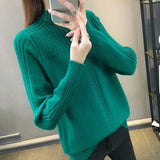 Knitted Turtleneck Women Autumn Winter 2020 New Ladies Korean Sweater Female Long Sleeve Jumper Blue White Red Pullover Femme