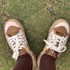 Cute Bear plaid Canvas Shoes Women's 2020 Casual Lace Up Running Sneakers Autumn Students Kawaii Brown Flat Low vulcanize shoes