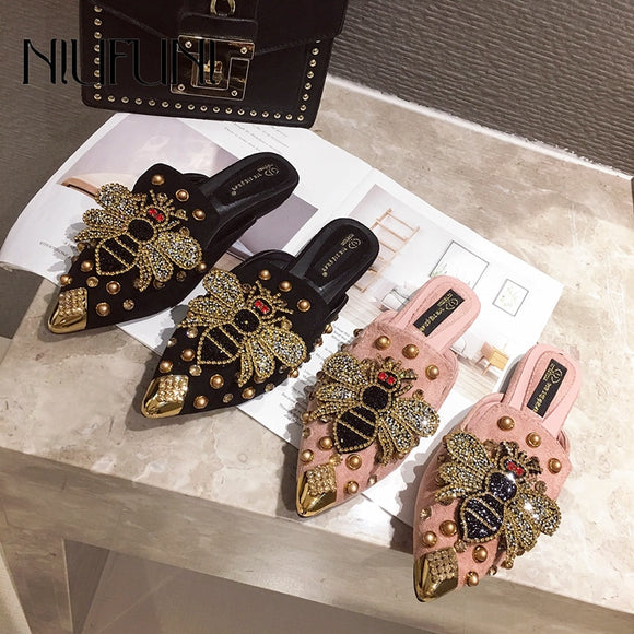 Pointed Rhinestone Rivet Women's Shallow Slippers Casual Slip On Low Heel Mules Loafer Flat Slides Sandals Crystal Beach Shoes