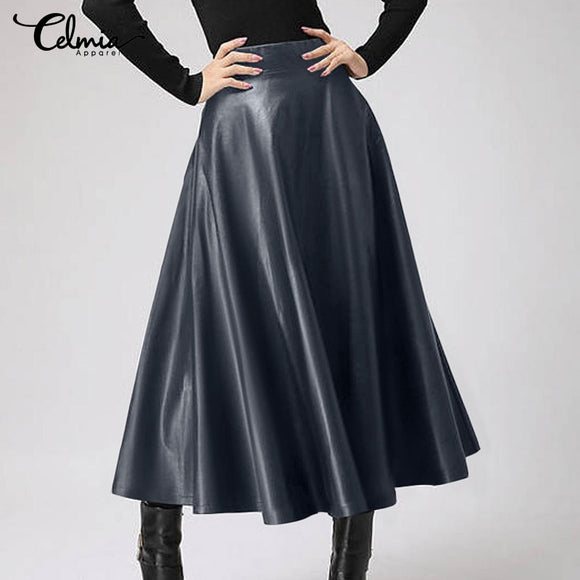 Women's OL Skirt Celmia Elegant Party Skirts Plus Size Solid Color PU Leather Skirts Fashion High Waist Leather Midi Skirt Femme