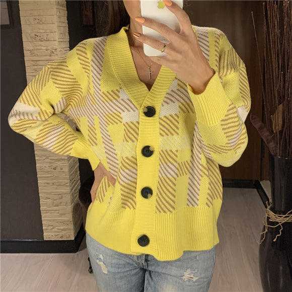 Colorfaith New 2020 Autumn Winter Women's Sweaters Plaid Checkered Buttons Cardigans Fashionable Korean Ladies Knitwears SWC8814