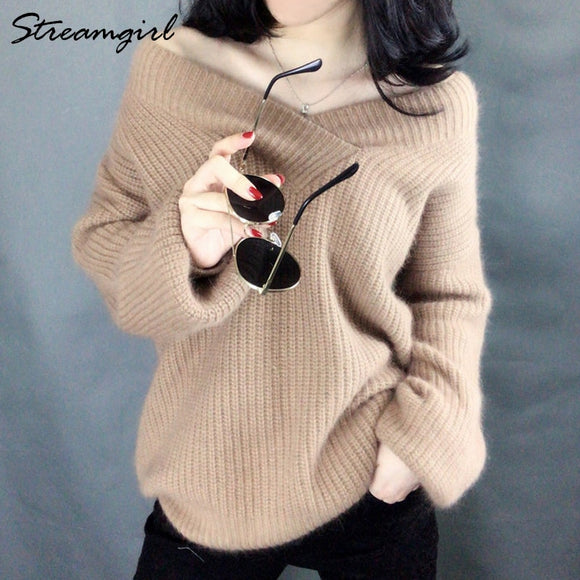 Winter Sweater Women Oversize Warm Pullovers Oversized Sweater 2020 Fall White V Neck Women's Sweaters And Pullovers Jumper