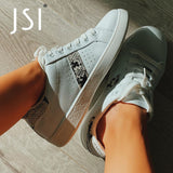 JSI 2021 New White Shoes Sneaker Flats Fashion Design Snake Pattern Leisure Comfortable Round Toe Women's Little Handmade Flats
