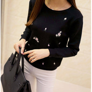 2020 Newest Style Womens Pullovers Beautiful Flowers Embroidery Long Sleeve Casual Female Cotton Sweater Solid color Female Tops