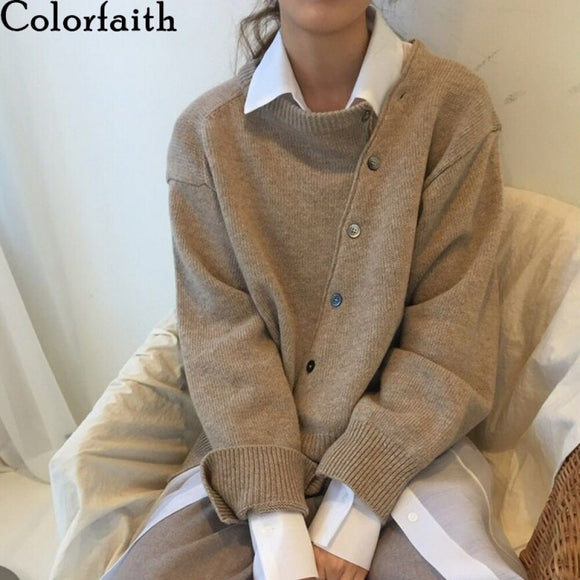 Colorfaith New 2021 Winter Spring Women's Sweaters Irregular Buttons Cardigans Fashionable Korean Ladies Knitwears SWC8562