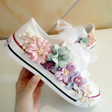 Sneakers Wedges Canvas shoes Women's casual shoes Women's handmade custom Three-dimensional sequins Flowers White Flat