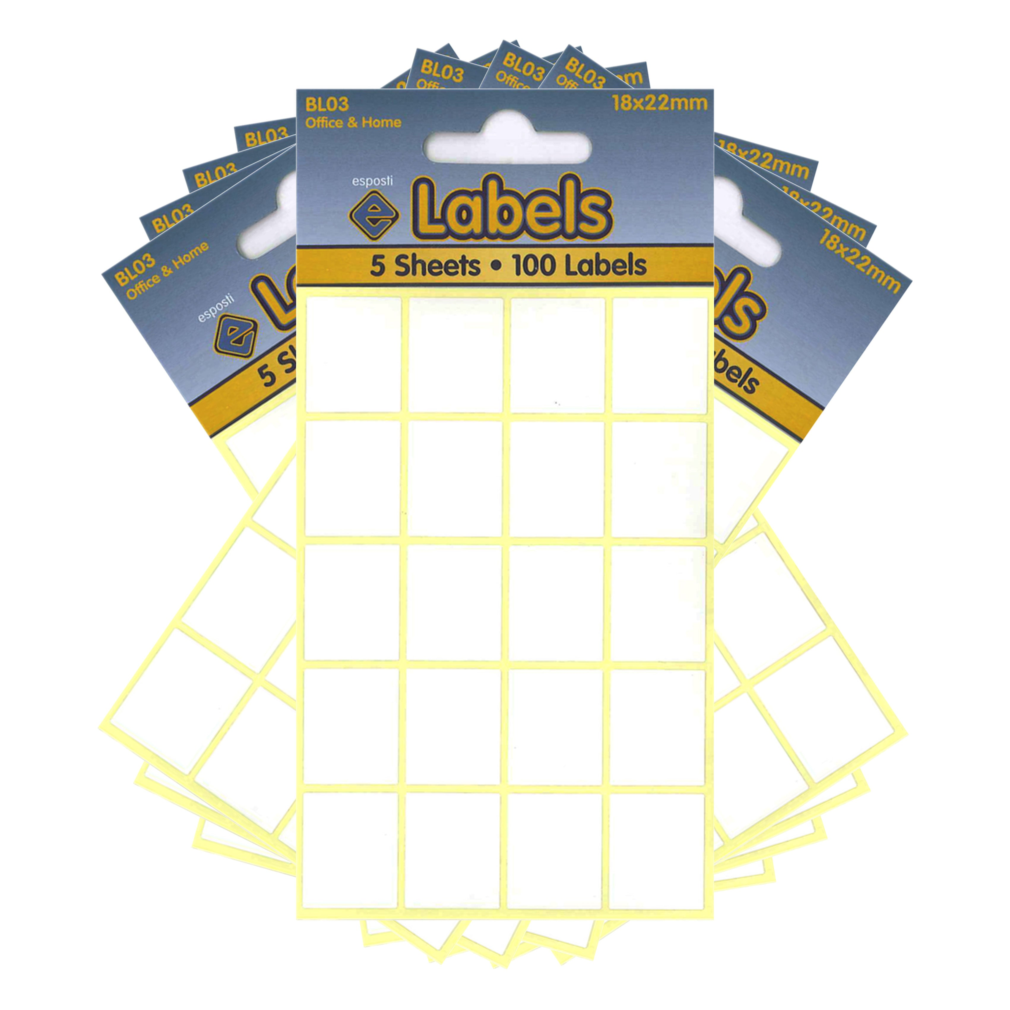 Esposti All Purpose Multi Use Sticky Labels - Self Adhesive - White - 18x22mm - 10 Packs Containing 1000 Stickers