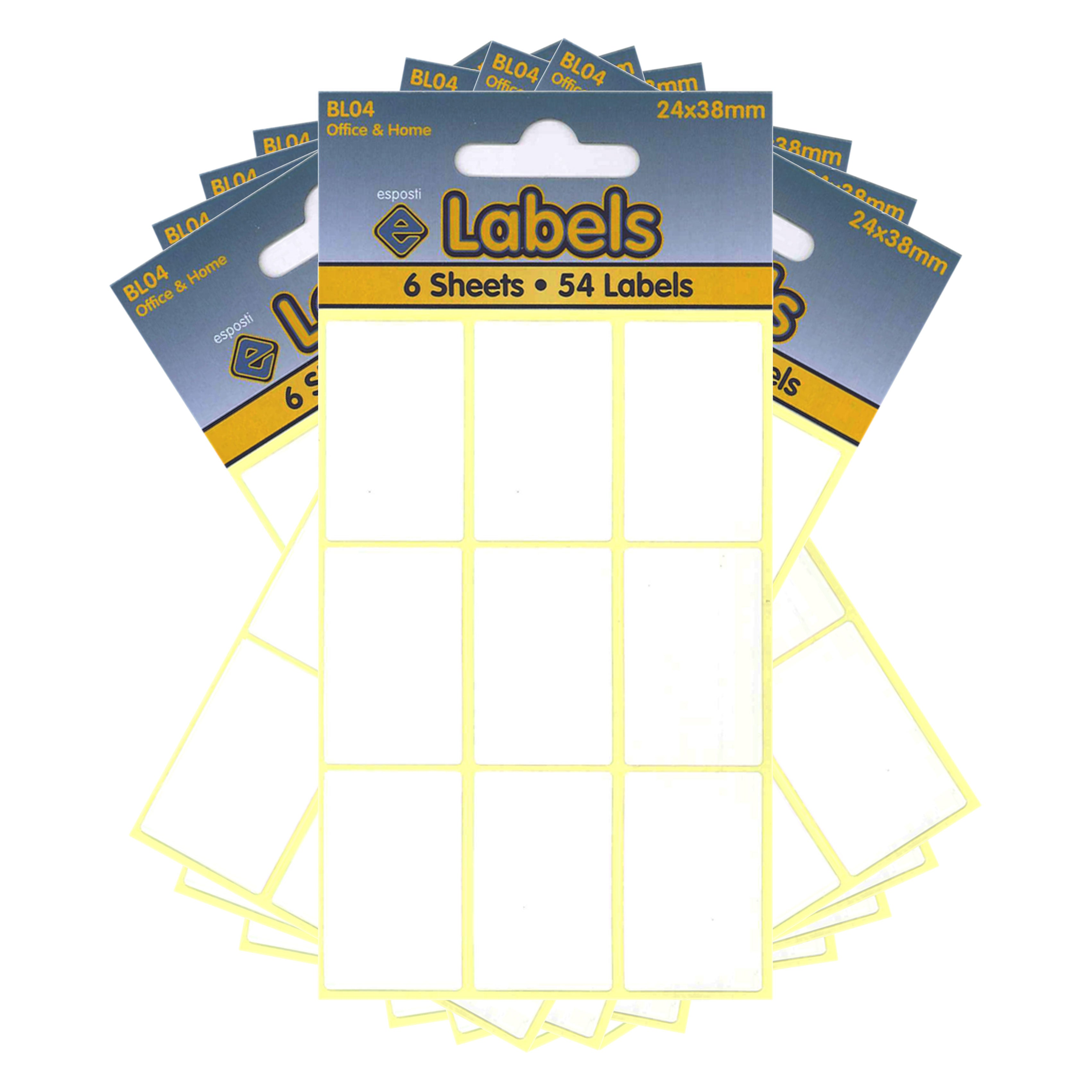 Esposti All Purpose Multi Use Sticky Labels - Self Adhesive - White - 24x38mm - 10 Packs Containing 540 Stickers