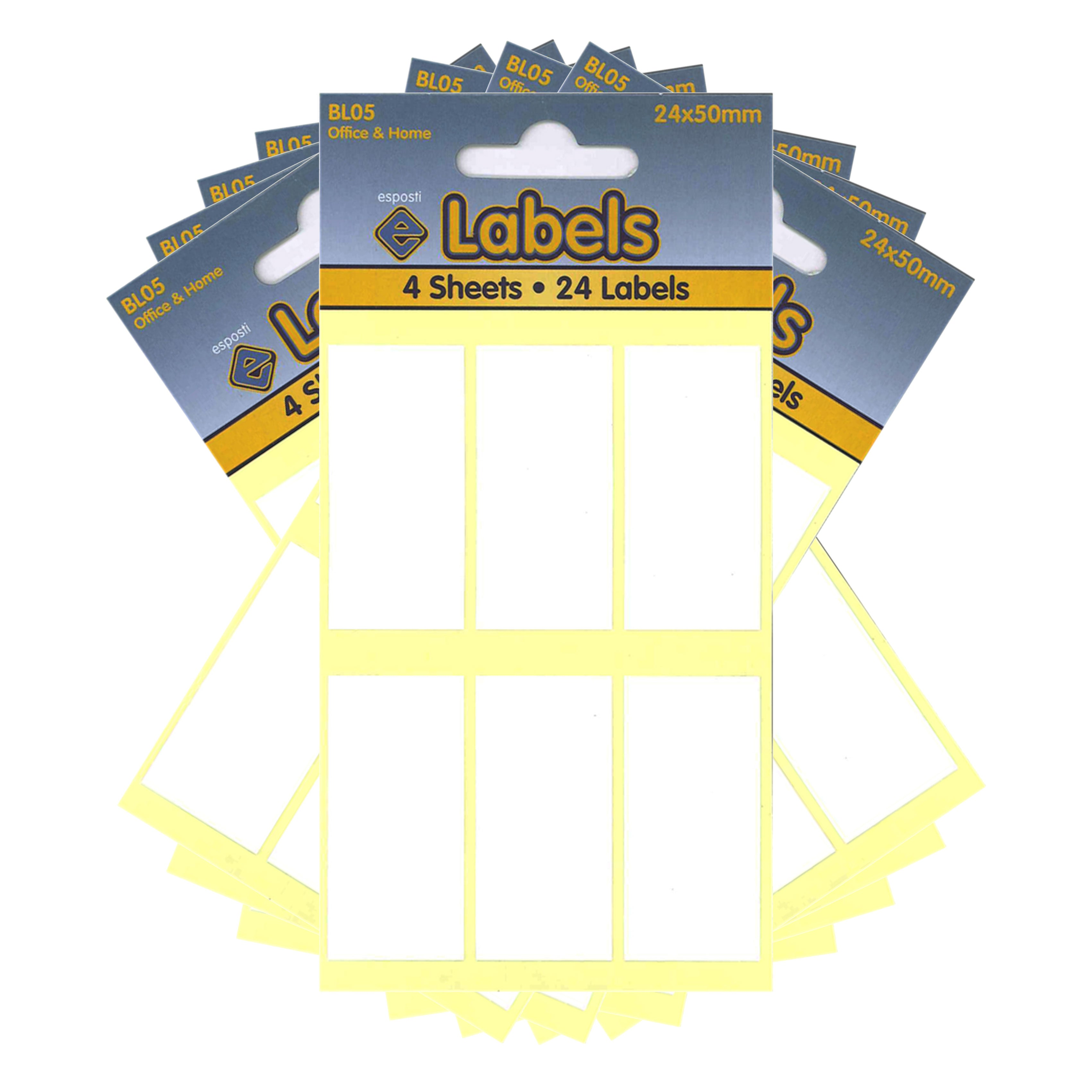 Esposti All Purpose Multi Use Sticky Labels - Self Adhesive - White - 24x50mm - 10 Packs Containing 240 Stickers