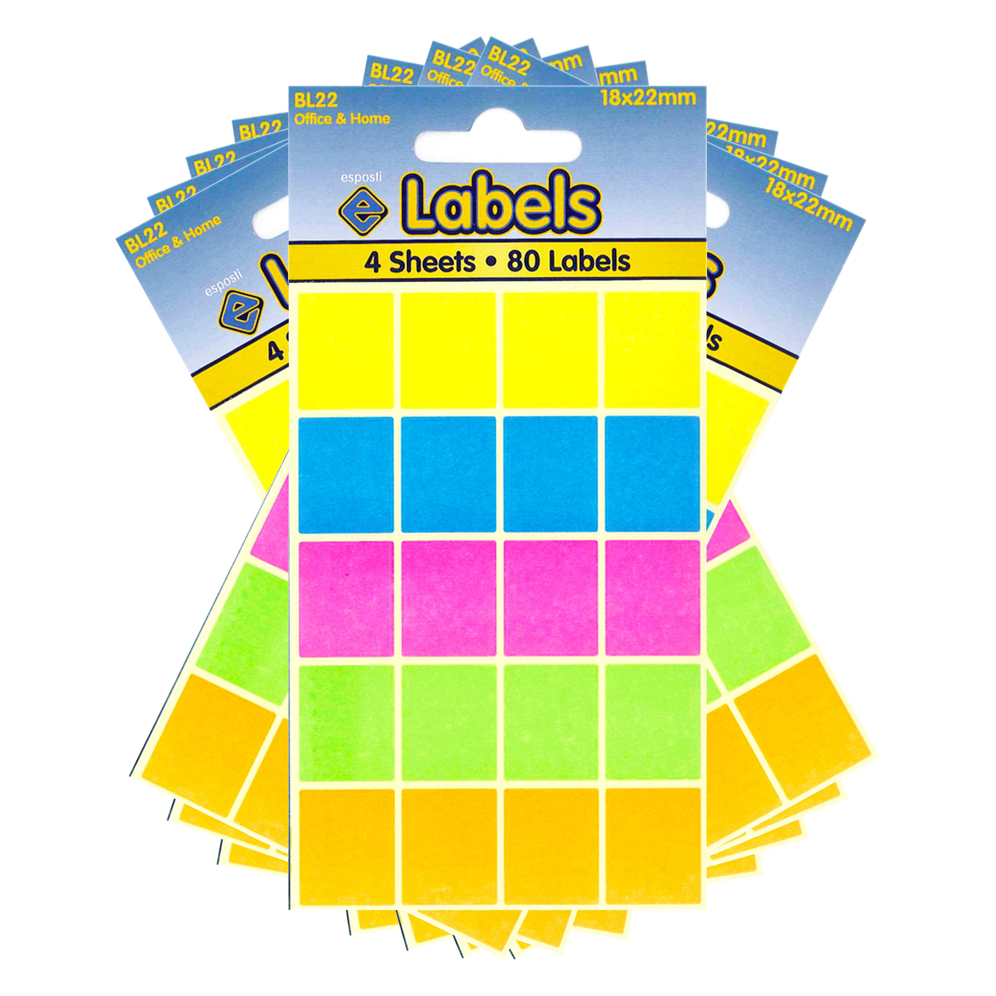 Esposti All Purpose Multi Use Sticky Labels - Self Adhesive - Assorted Colours - 18x22mm - 10 Packs Containing 800 Stickers