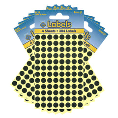 Esposti 8mm Small Colour Coding Dot Stickers - Self Adhesive - Black - 10 Packs Containing 3840 Labels