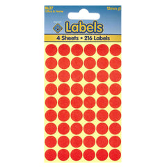 Esposti 12mm Small Colour Coding Dot Stickers - Self Adhesive - Red - 10 Packs Containing 2160 Labels