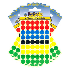 Esposti 12mm Small Colour Coding Dot Stickers - Self Adhesive - Assorted Colours - 10 Packs Containing 2160 Labels