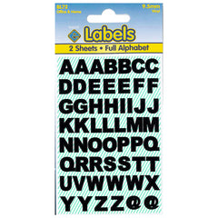 Esposti Multi Purpose Alphabet Letters Stickers - Self Adhesive - Black Vinyl - 9.5mm - 10 Packs Containing 1120 Sticky Letters