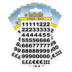 Esposti Multi Purpose Rub on Numbers Stickers - Black - 9.5mm - 10 Packs Containing 1280 Numbers