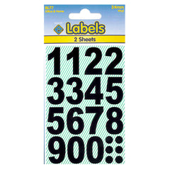 Esposti Multi Purpose Large Numbers Stickers - Self Adhesive - Black Vinyl - 24mm - 10 Packs Containing 320 Sticky Numbers