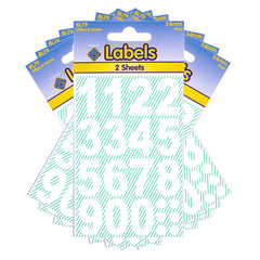 Esposti Multi Purpose Large Numbers Stickers - Self Adhesive - White Vinyl - 24mm - 10 Packs Containing 320 Sticky Numbers