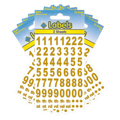 Esposti Multi Purpose Numbers Stickers - Self Adhesive - Gold Foil - 13.5mm - 10 Packs Containing 1280 Sticky Numbers