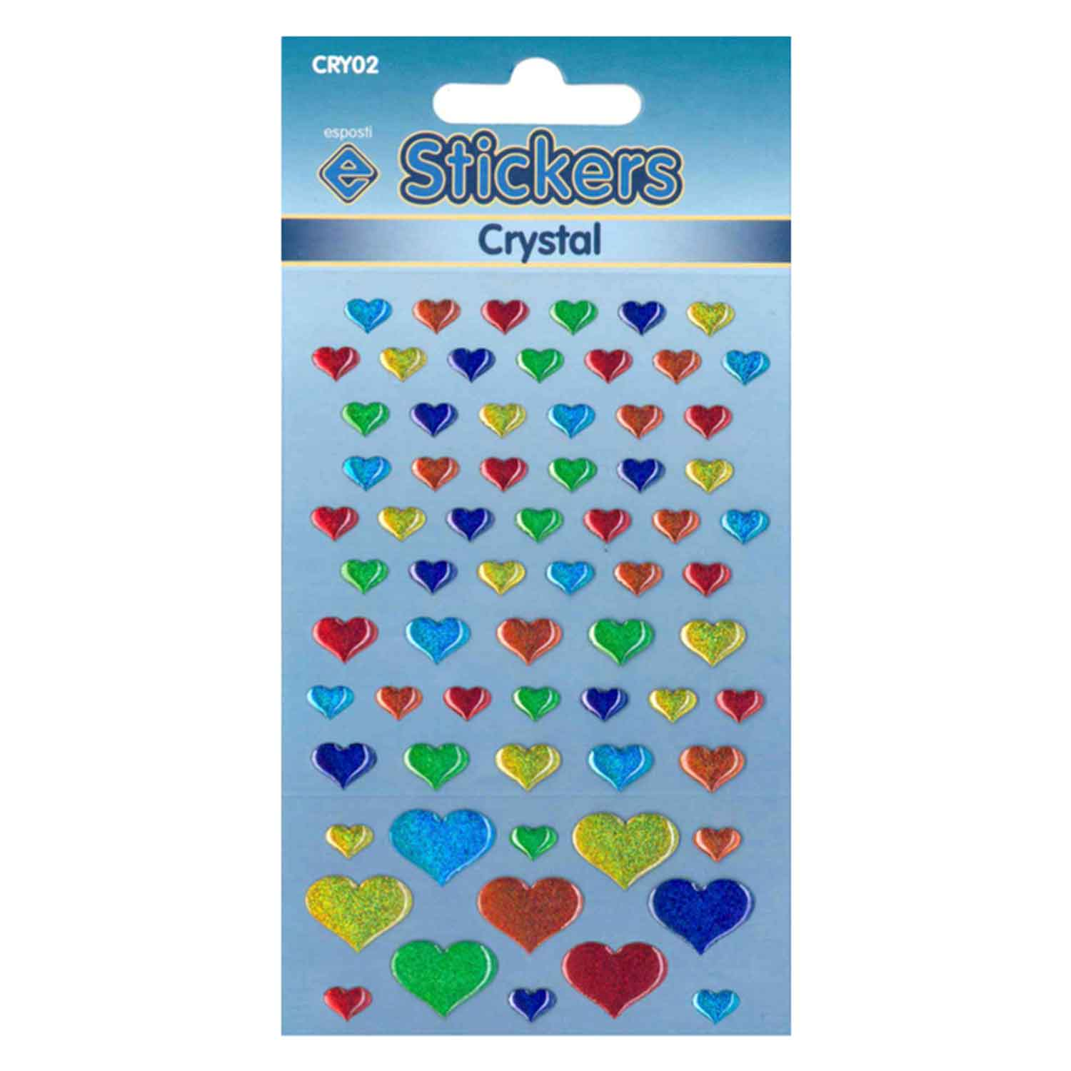 Esposti Crystal Hearts Self Adhesive Novelty Stickers - Pack of 10