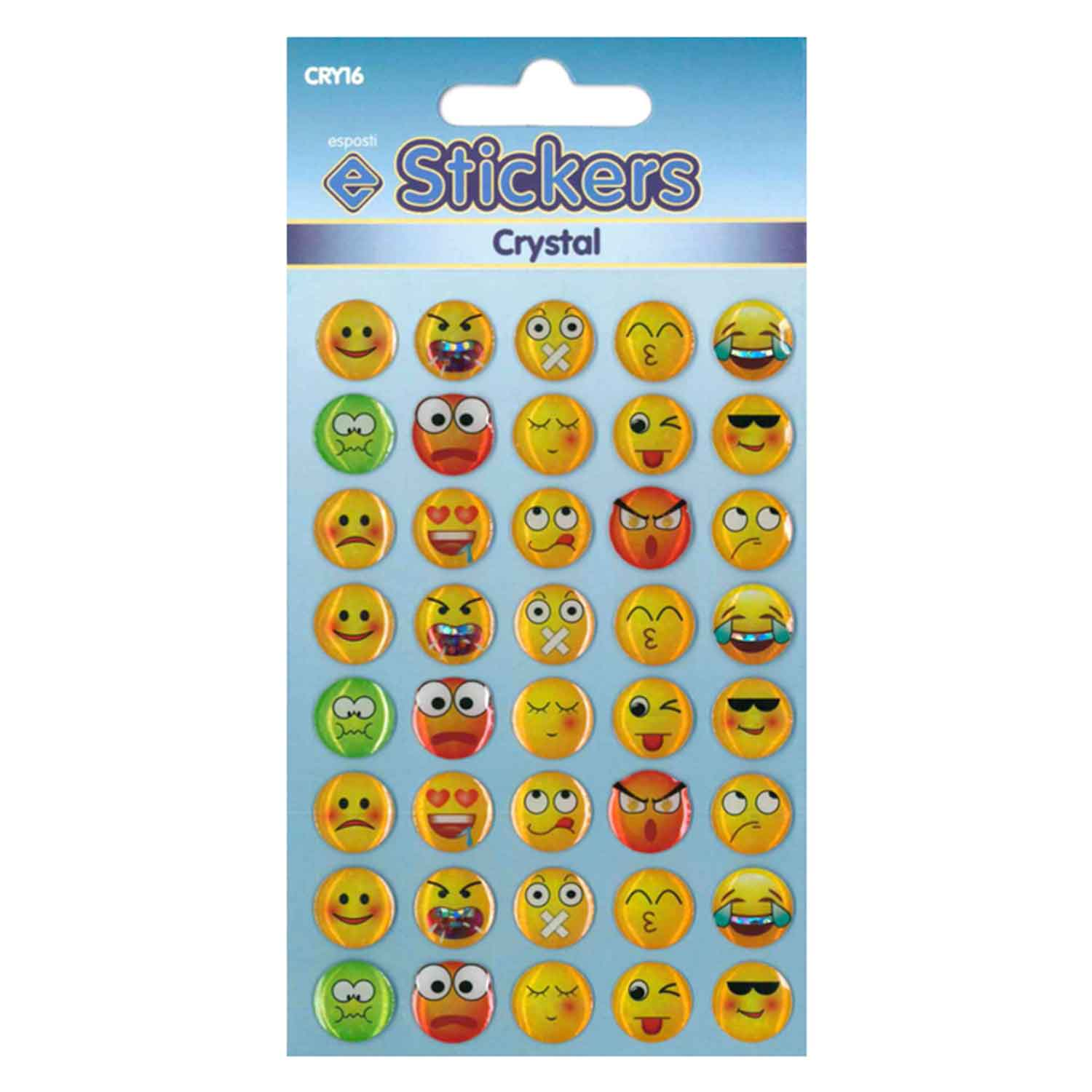 Esposti Crystal Emoticons Self Adhesive Novelty Stickers - Pack of 10