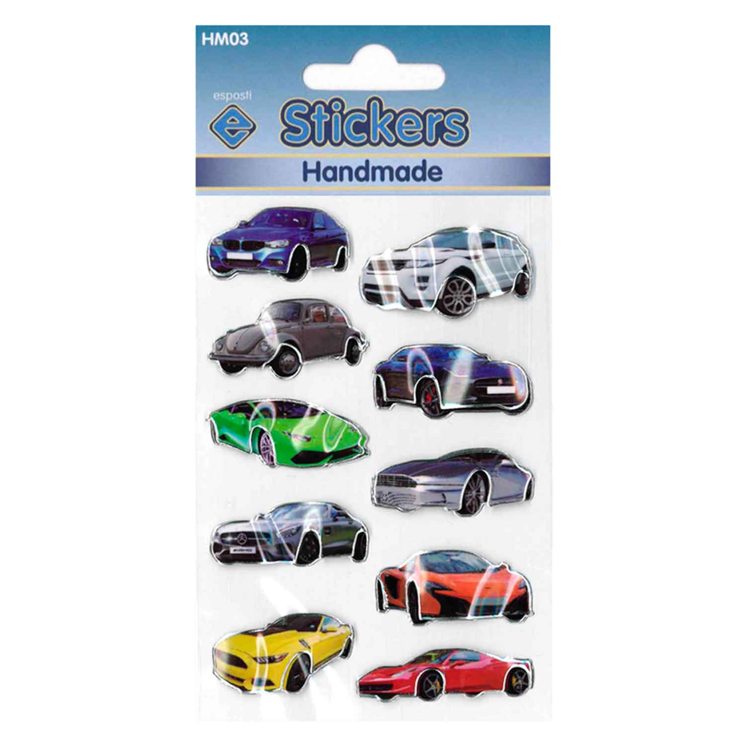Esposti Handmade Cars Self Adhesive Novelty Stickers - Pack of 10
